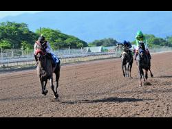 MR PANTHEON (left) ridden by Tevin Foster wins the eight race at Caymanas Park, on Saturday, September 19.